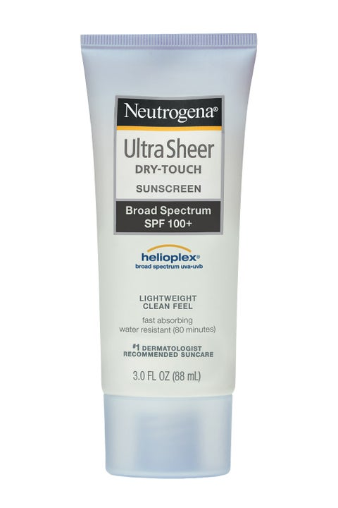 """<p>Water-resistant <strong>Neutrogena Ultra Sheer Dry-Touch Sunscreen Broad Spectrum SPF 100+</strong><strong></strong> is a no-brainer for the beach bag. And the non-shiny, dry finish makes it comfortable to wear. Remember the cardinal rule: Use a shot glass-worth of sunscreen to cover your entire body. <em>$12, <a href=""""http://www.neutrogena.com/product/ultra+sheer-+dry-touch+sunscreen+broad+spectrum+spf+100-.do?sortby=ourPicks"""" target=""""_blank"""">neutrogena.com</a></em></p>"""