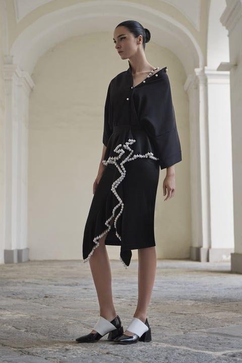Clothing, Footwear, Sleeve, Shoulder, Dress, Human leg, Standing, Joint, White, One-piece garment,