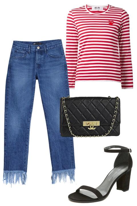 "<p>This fashion week I'm keeping it as comfortable as possible! Cool jeans, a striped&nbsp;t-shirt, and low block heels will be a go-to outfit combo of mine. <em data-redactor-tag=""em"" data-verified=""redactor"">—Nikki Ogunnaike, ELLE.com&nbsp;Senior Fashion Editor</em><em data-redactor-tag=""em"" data-verified=""redactor""></em></p><p><em data-redactor-tag=""em"" data-verified=""redactor"">Comme des Garcons Play Long Sleeve Striped T-Shirt, $116;&nbsp;<a href=""https://urldefense.proofpoint.com/v2/url?u=http-3A__www.farfetch.com_shopping_women_Comme-2DDes-2DGarons-2DPlay-2Dlong-2Dsleeve-2Dstriped-2DT-2Dshirt-2Ditem-2D10888110.aspx-3Fgclid-3DCPWov4vf-5Fc4CFQyRaQod9owAvg-26fsb-3D1-26ef-5Fid-3DV727QwAAAfSoBHPk-3A20160907170707-3As&amp;d=DQMFaQ&amp;c=B73tqXN8Ec0ocRmZHMCntw&amp;r=MD9PON_3e_YfvBNZlbD4wy2VpCsZUH7wLDWAZkHMYao&amp;m=5rE6Ix0mt_-SIADqiaKwENKZbn7_ISdIiUbdbndJEIY&amp;s=kpPhSLrAcQFvYCudFzO1BBxlfATBmcFsb3PkQTYMZRs&amp;e="" target=""_blank"">farfetch.com</a></em></p><p><em data-redactor-tag=""em"" data-verified=""redactor"">3x1 Crop Fringe Jeans, $325;&nbsp;<a href=""https://urldefense.proofpoint.com/v2/url?u=http-3A__www.barneys.com_product_3x1-2Dcrop-2Dfringe-2Djeans-2D504734134.html&amp;d=DQMFaQ&amp;c=B73tqXN8Ec0ocRmZHMCntw&amp;r=MD9PON_3e_YfvBNZlbD4wy2VpCsZUH7wLDWAZkHMYao&amp;m=5rE6Ix0mt_-SIADqiaKwENKZbn7_ISdIiUbdbndJEIY&amp;s=T73C6Om4BW51ZYWPfWABtMYIvh7xTzwrzlOmSVGVH-8&amp;e="" target=""_blank"">barneys.com</a></em></p><p><em data-redactor-tag=""em"" data-verified=""redactor"">Stuart Weitzman Nearlynude Sandals, $398;&nbsp;<a href=""https://urldefense.proofpoint.com/v2/url?u=https-3A__www.shopbop.com_nearlynude-2Dsandal-2Dstuart-2Dweitzman_vp_v-3D1_1553615206.htm-3FcurrencyCode-3DUSD-26extid-3DSE-5Ffroogle-5FSC-5Fusa-26cvosrc-3Dcse.google.STUAR20481-26cvo-5Fcampaign-3DSB-5FGoogle-5FUSD-26s-5Fkwcid-3DAL-213510-213-21-257Bcreative-257D-21-257Bmatchtype-257D-21-257Bplacement-257D-21-257Bnetwork-257D-21-21-257Bkeyword-257D-26ef-5Fid-3DV727QwAAAfSoBHPk-3A20160907170804-3As&amp;d=DQMFaQ&amp;"