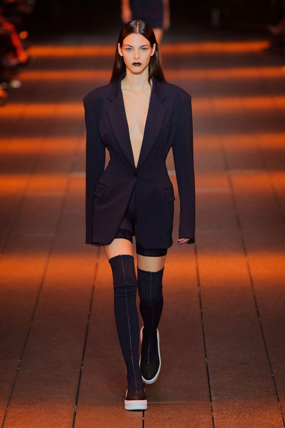 Clothing, Outerwear, Style, Knee, Blazer, Fashion model, Orange, Fashion, Thigh, Street fashion,