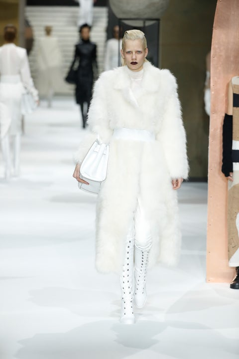 Winter, White, Standing, Fashion show, Fashion model, Street fashion, Runway, Fashion, Fur, Fashion design,
