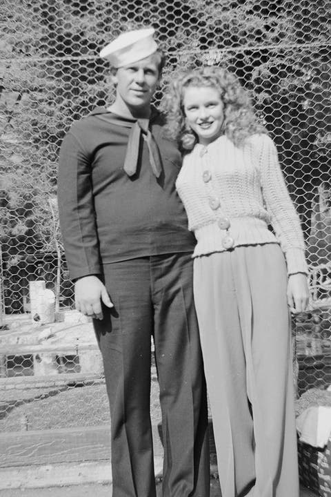 <p>Monroe and Dougherty during their first year of marriage.</p>