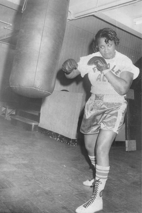"<p>On June 8, 1975, boxer Jackie Tonawanda&nbsp;was the first woman to fight in New York's Madison Square Garden<span class=""redactor-invisible-space"" data-verified=""redactor"" data-redactor-tag=""span"" data-redactor-class=""redactor-invisible-space"">. She&nbsp;</span>went up against Larry Rodania—and knocked him&nbsp;out in the second round. After that, she&nbsp;was dubbed ""the female Muhammad Ali.""</p>"