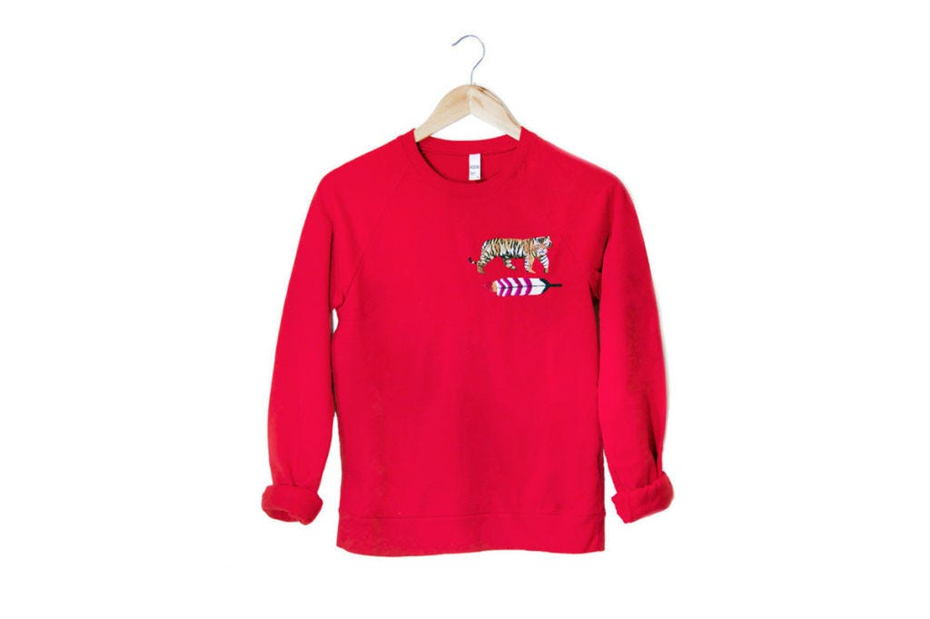Clothing, Product, Sleeve, Collar, Textile, Outerwear, White, Red, Sweatshirt, Magenta,