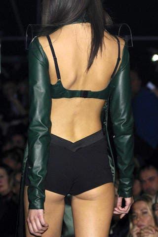 Joint, Thigh, Fashion, Back, Fashion model, Leather, Latex, Blond, Hip, Fashion show,