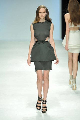 Clothing, Footwear, Leg, Dress, Hairstyle, Fashion show, Human leg, Human body, Shoulder, Joint,