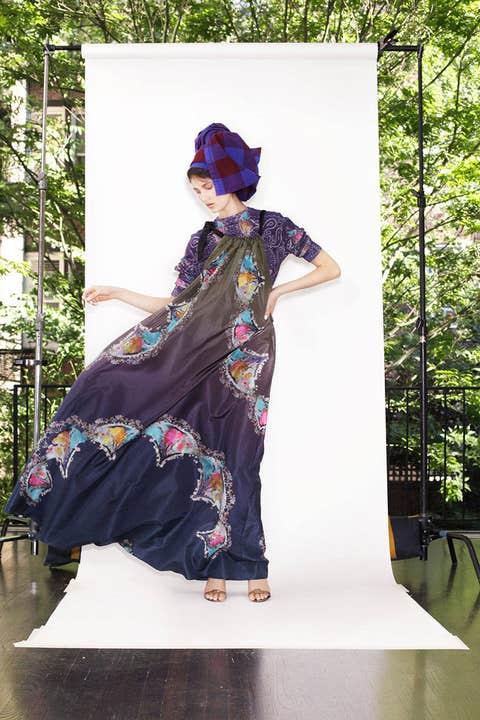 Textile, Fashion, Street fashion, Magenta, Costume design, Fashion model, Costume, Fashion design, Model, Sandal,