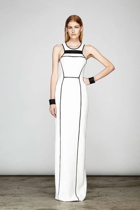 Clothing, Sleeve, Dress, Shoulder, Joint, White, Standing, One-piece garment, Formal wear, Style,
