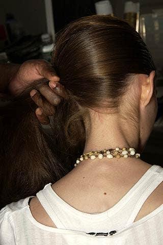 Ear, Hairstyle, Forehead, Eyebrow, Earrings, Style, Hair accessory, Beauty, Jewellery, Long hair,