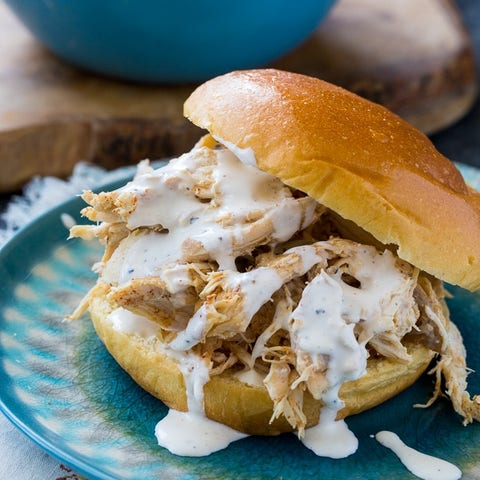 pulled chicken with white sauce sandwich