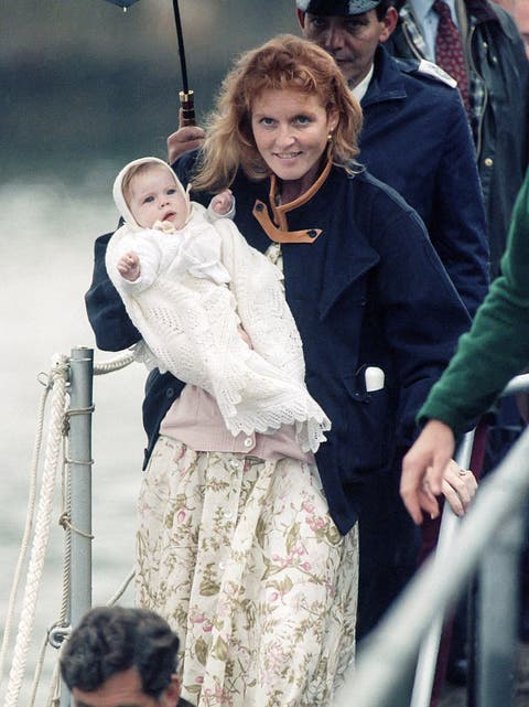 Sarah, Duchess of York, with Princess Eugenie after visiting The Queen Mother, at The Castle of Mey