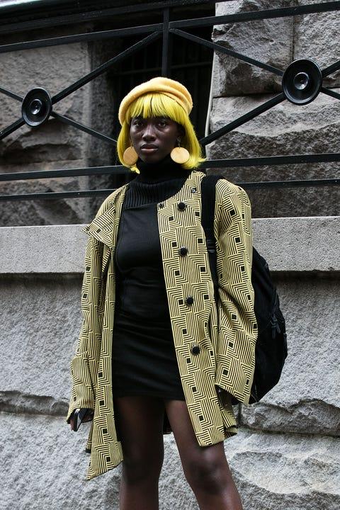 Yellow, Fashion, Street fashion, Outerwear, Headgear, Photography, Neck, Hat, Turban, Door,