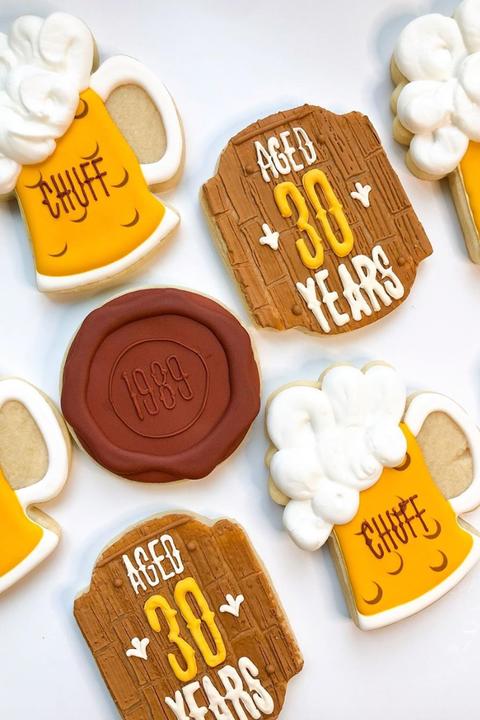 30th birthday beer cookies