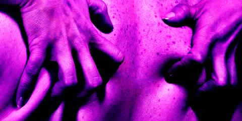 Purple, Pink, Violet, Finger, Hand, Close-up, Human, Organism, Magenta, Mouth,