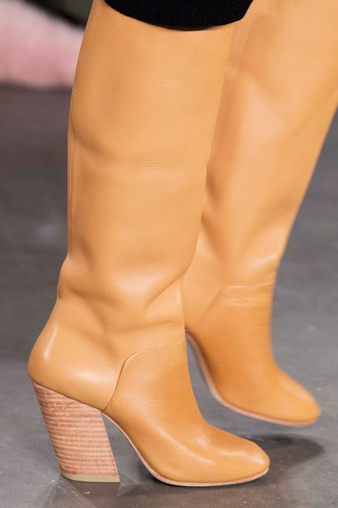 Footwear, Shoe, Boot, High heels, Yellow, Tan, Human leg, Leg, Beige, Brown,