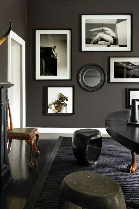 Room, Furniture, Black, Interior design, Table, Black-and-white, Wall, Dining room, Living room, Building,