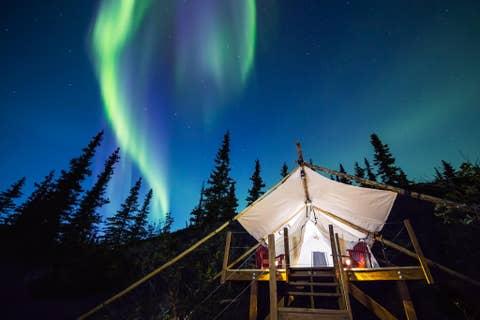 Aurora, Sky, Night, Light, Cloud, Tree, House, Atmosphere, Architecture, Landscape,