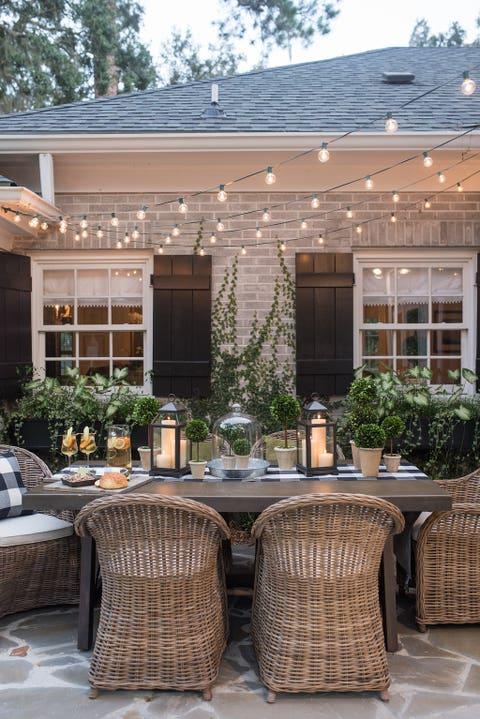 backyard string lights outdoor dining area