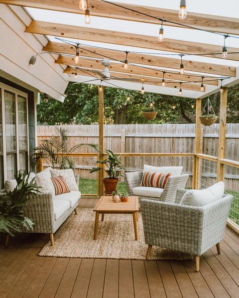 backyard string lights outdoor living room