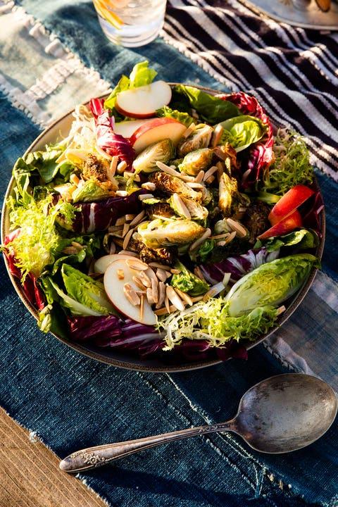 crispy brussels sprouts salad with citrus maple vinaigrette