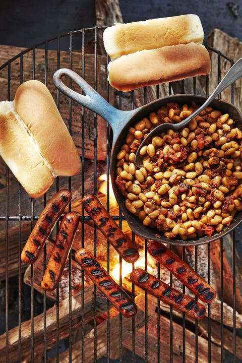 campfire recipes hot dogs with quick cast iron beans
