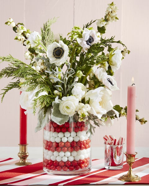 candy cane striped centerpiece