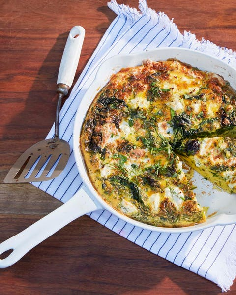 cheesy fritatta with spring greens and shallots