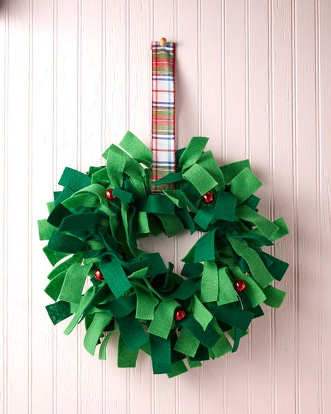 wreath made from strips of felt