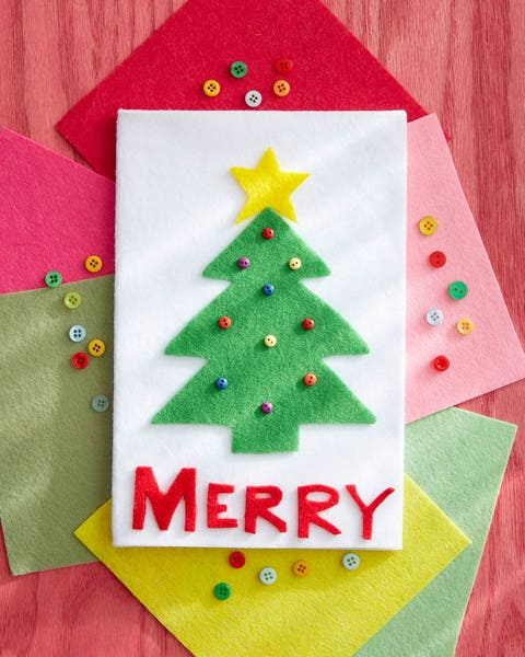 diy christmas card made from felt with a christmas tree and button ornaments