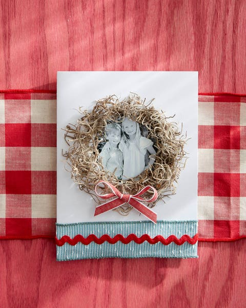 card family photo with spanish moss wreath and ribbon accent along the bottom of the card