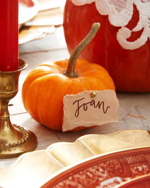 mini pumpkin place card