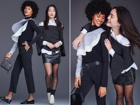 Clothing, Black, Fashion model, Shoulder, Fashion, Outerwear, Blazer, Sleeve, Formal wear, Human,