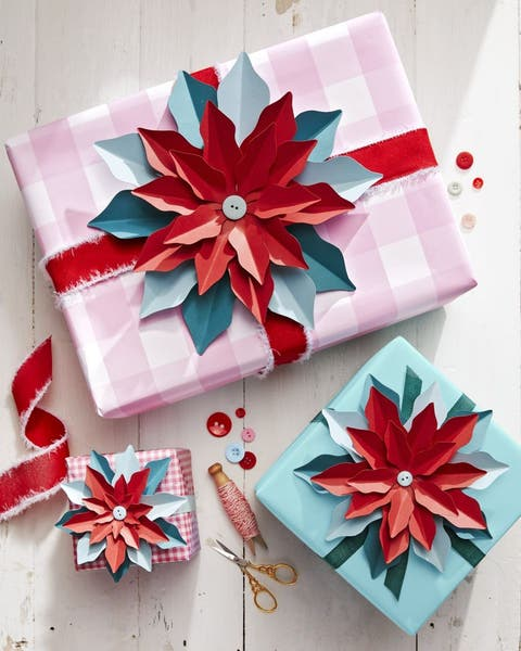 paper poinsettias diy christmas gifts