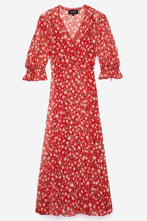 Clothing, Day dress, Red, Dress, Sleeve, Pattern, Pink, Design, Polka dot, Neck,