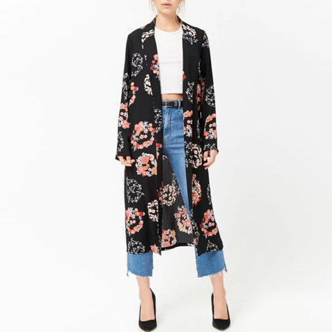 Clothing, Outerwear, Sleeve, Cardigan, Dress, Coat, Trench coat, Fashion, Costume, Kimono,