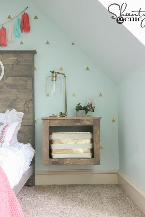 floating nightstands basket