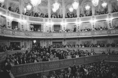 gala organized by the baroness de rothschild for the restoration of versailles castle in versailles, france on november 28, 1973