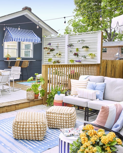 backyard with garden fence and couch
