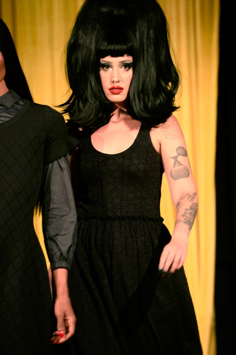 Little black dress, Black hair, Fashion, Hairstyle, Dress, Lip, Bangs, Long hair, Photography, Performance,