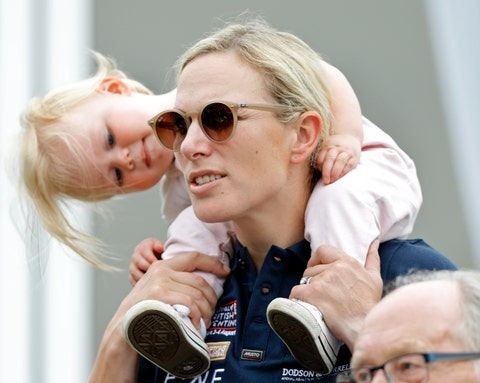stroud, united kingdom august 03 embargoed for publication in uk newspapers until 24 hours after create date and time zara tindall carries daughter lena tindall on her shoulders as they attend day 2 of the 2019 festival of british eventing at gatcombe park on August 3, 2019 in stroud, england photo by max mumbyindigogetty images
