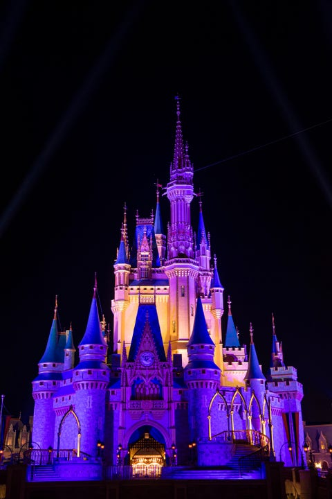 lake buena vista, fl cinderella castle inside the magic kingdom park is lit purple and gold in honor of the los angeles lakers winning the 2020 nba final on october 11, 2020 at walt disney world in lake buena vista, florida  photo by david roarkdisney resorts via getty images