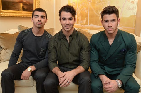 new york, ny september 05 lr joe jonas, kevin jonas, and nick jonas of the jonas brothers attend the mercedes benz star lounge during mercedes benz fashion week spring 2014 at lincoln center on september 5, 2013 in new york city photo by mike coppolagetty images for mercedes benz