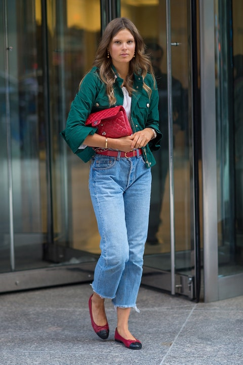Clothing, Sleeve, Trousers, Denim, Jeans, Textile, Outerwear, Standing, Style, Street fashion,