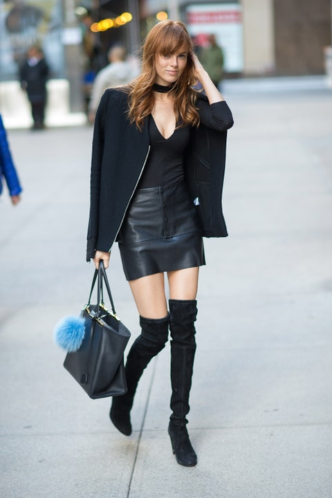Clothing, Sleeve, Textile, Outerwear, Bag, Street fashion, Style, Fashion accessory, Boot, Knee,