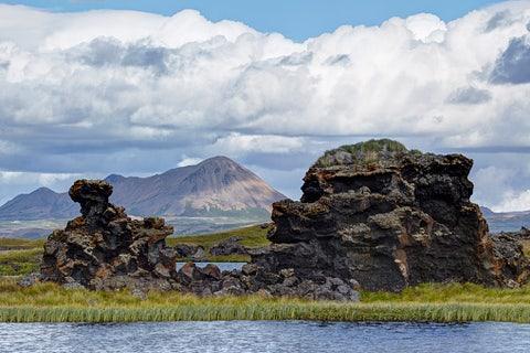 lava columns at lake myvatn in north iceland