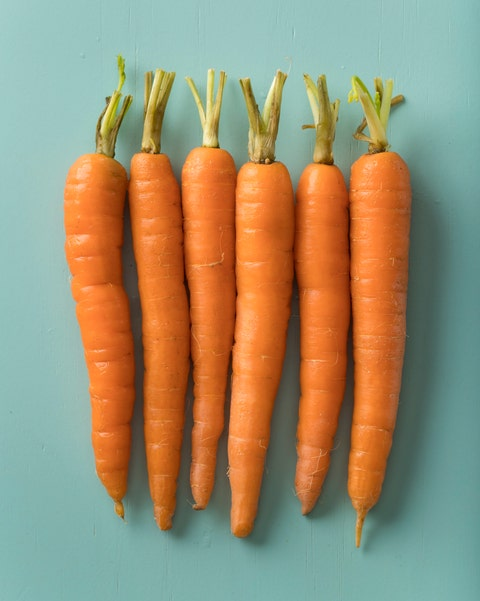 row of fresh orange carrots