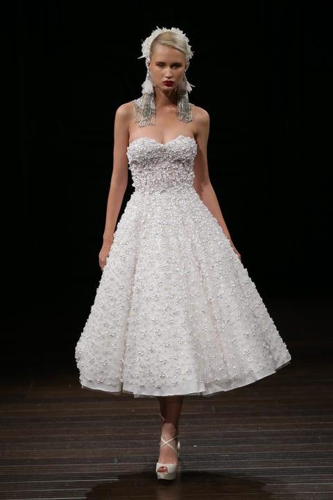 Clothing, Fashion model, Dress, Gown, Wedding dress, White, Bridal party dress, Bridal clothing, Fashion, A-line,