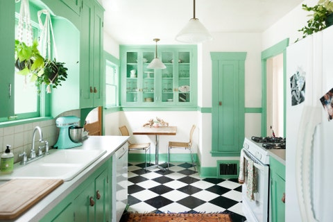green kitchen cabinets retro