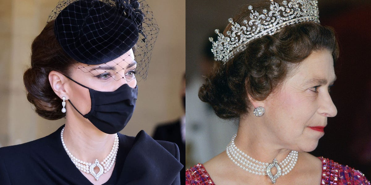 Kate Middleton Wore the Queen's Pearl Necklace to Prince Philip's Funeral