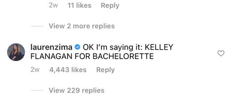 lauren zima's comment on kelley flanagan's instagram